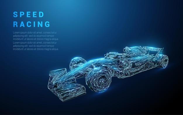 Streszczenie szybki niebieski bolid wyścigowy. pędzący samochód sportowy wyścigowy. projekt w stylu low poly.