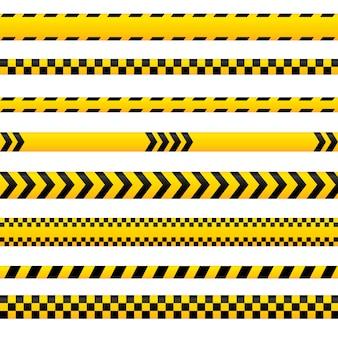 Streszczenie taśmy ostrzegawczej, żółte linie niebezpieczeństwa puste w różnych stylach. może być wykorzystany na policję, wypadek, jako znak barierowy. kolekcja taśm.