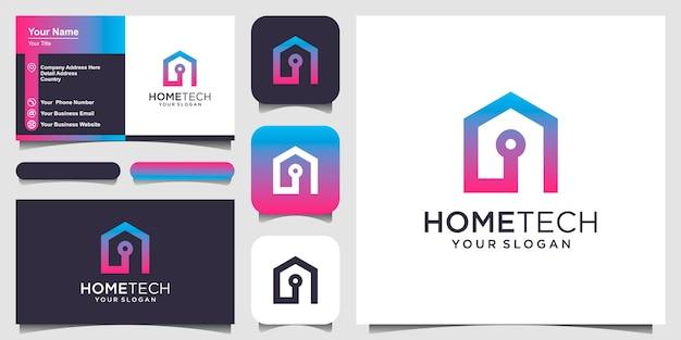 Streszczenie technika do domu z logo w stylu linii sztuki i projekt wizytówki
