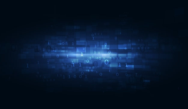 Streszczenie technika tło. pływające liczby tła hud. cząsteczki macierzy tworzą siatkę rzeczywistości wirtualnej. sprzętowa forma kwantowa.
