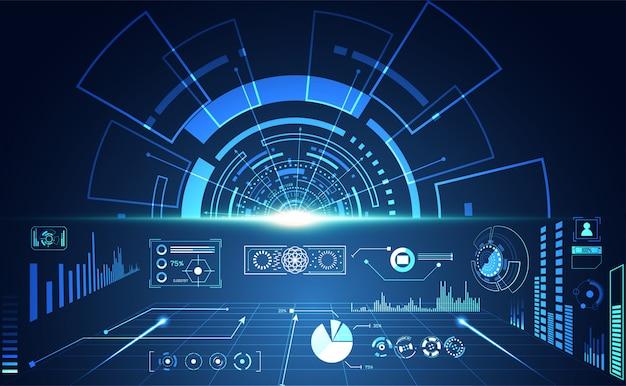 Streszczenie technologia interfejs użytkownika futurystyczny koncepcja hud hologram interfejsu