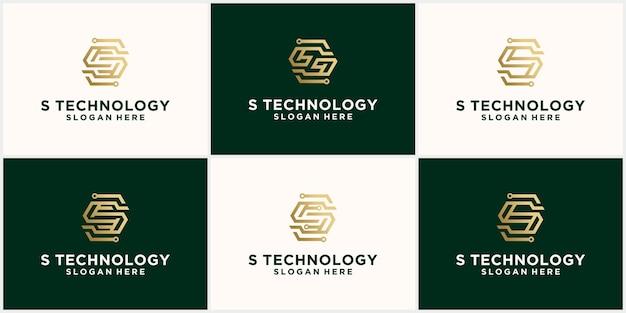 Streszczenie technologia logo litera s zestaw