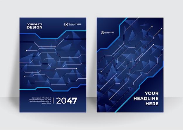 Streszczenie technologia pokrywa z płytką drukowaną. koncepcja projektowania broszury high-tech. zestaw futurystyczny układ biznesowy. ciemnoniebieskie nowoczesne tło technologiczne
