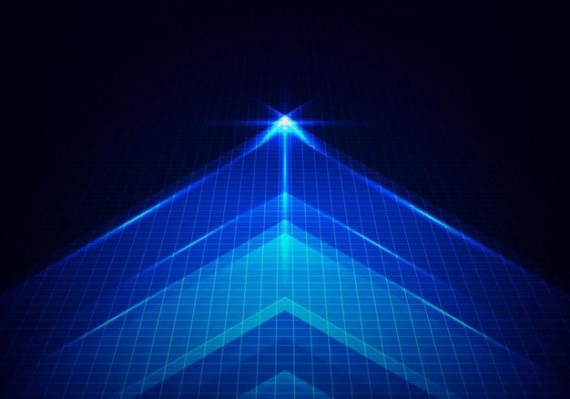Streszczenie technologia świecące niebieską strzałkę do przodu z oświetleniem i siatką linii na niebieskim tle. ilustracja wektorowa