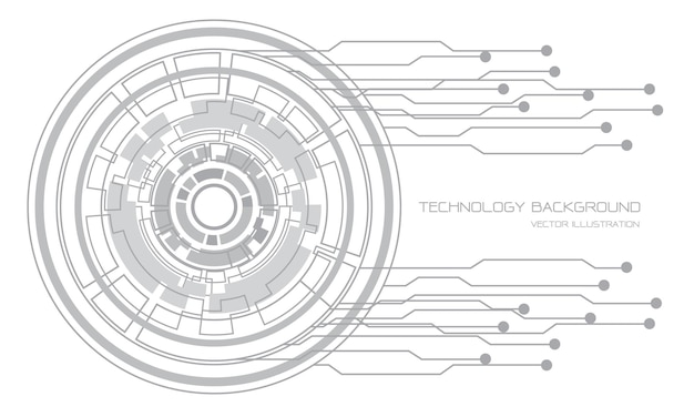 Streszczenie technologia szare koło cyber linii obwodu na białej futurystycznej konstrukcji nowoczesne tło ilustracja.