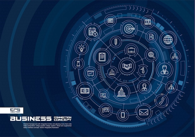 Streszczenie technologia tło. cyfrowy system łączenia ze zintegrowanymi okręgami i świecącymi cienkimi liniami ikon. koncepcja interfejsu wirtualnej rzeczywistości rozszerzonej. ilustracja plansza przyszłości