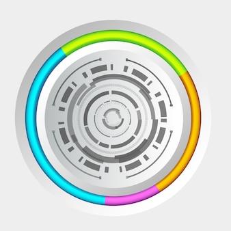 Streszczenie technologia tło koło koncepcja z interfejsem i kolorowymi krawędziami