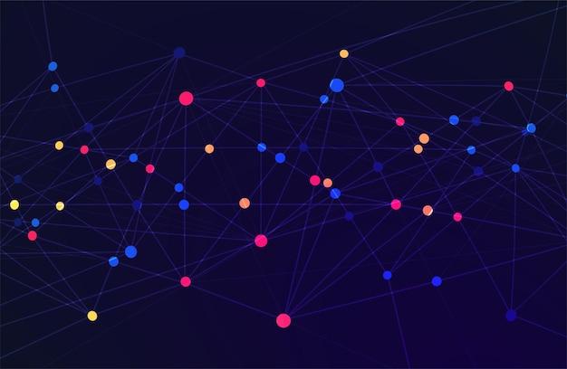 Streszczenie technologia tło z big data. połączenie internetowe, abstrakcyjne poczucie nauki i technologii analizy koncepcji projektowania graficznego. ilustracja wektorowa