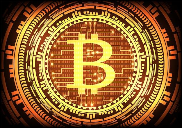 Streszczenie technologii bitcoins logo i sprzęt złota tło.
