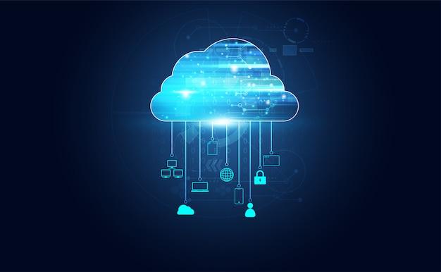 Streszczenie technologii chmury z dużymi danymi i ikony połączenia