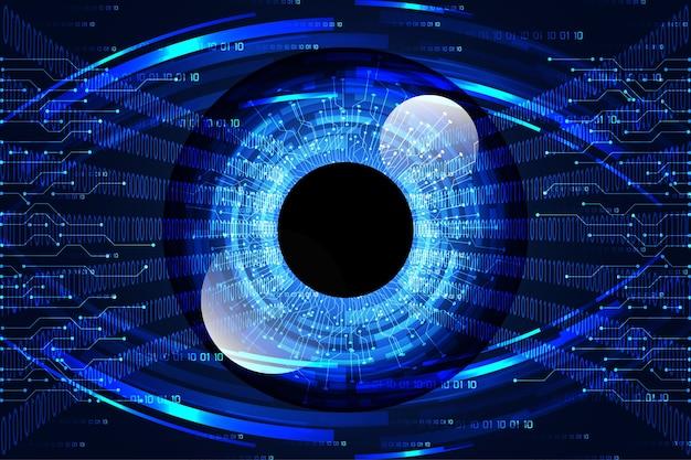 Streszczenie technologii nauki koncepcji oka łącze cyfrowe i binarne hi tech na niebieskim tle