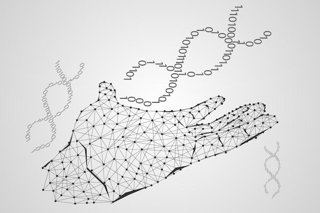 Streszczenie technologii nauki koncepcji strony cyfrowe łącze i dna w tle