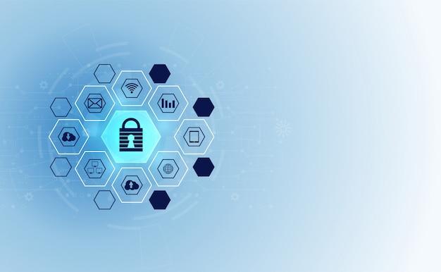 Streszczenie technologii prywatności cyberbezpieczeństwa ikona sieci informacyjnej