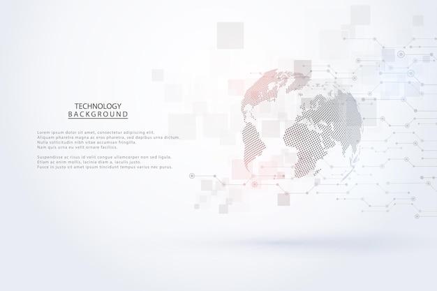 Streszczenie technologii tle koncepcja komunikacji hi-tech futurystyczne tło innowacji cyfrowych dla globalnej sieci, połączenia, nauki. ilustracja wektorowa
