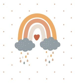 Streszczenie tęcza z chmurami boho projektowania ilustracji