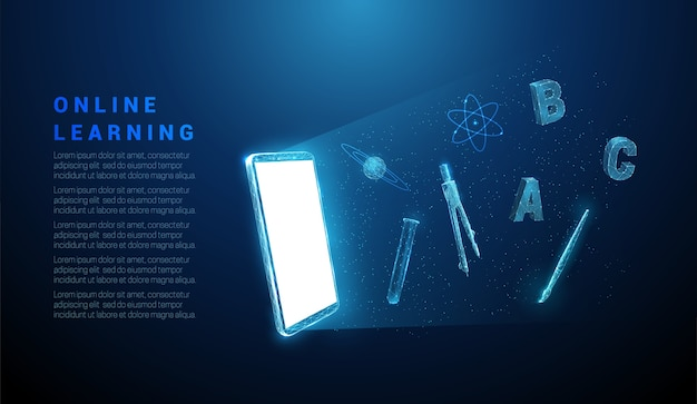 Streszczenie telefon komórkowy z ikoną przedmiotów szkolnych. projekt w stylu low poly. streszczenie tło geometryczne. struktura połączenia światła szkieletowego.