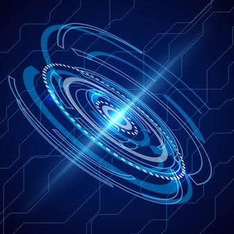 Streszczenie telekomunikacja elektryczna. tło science-fiction techno. cyfrowa komunikacja elektroniczna, futurystyczny system energii.