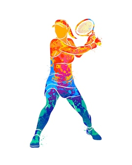 Streszczenie tenisista z rakietą od plusk akwareli.