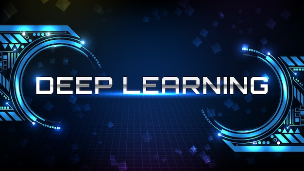 Streszczenie tle niebieskiego tekstu metalowego futurystycznej technologii deep learning technology z wyświetlaczem hud ui
