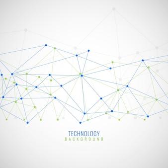 Streszczenie tle z linii i kropek, technologicznych