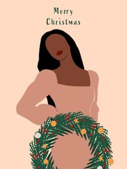 Streszczenie tło boże narodzenie z minimalistyczną kobietą i wieniec zimowy minimalistyczny plakat