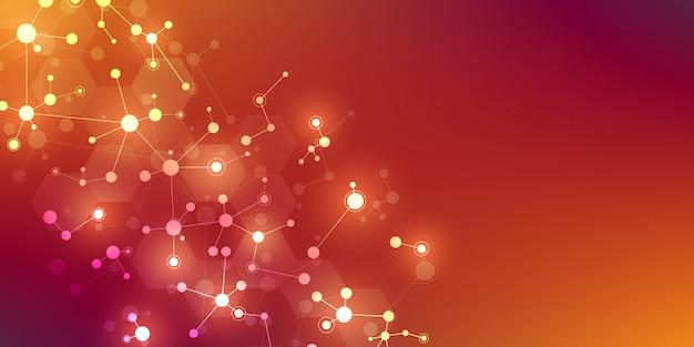 Streszczenie tło dla projektowania medycznego, naukowego i technologicznego. abstrakcjonistyczna geometryczna tekstura z strukturami molekularnymi i siecią neuronową. dna cząsteczek i badania genetyczne.