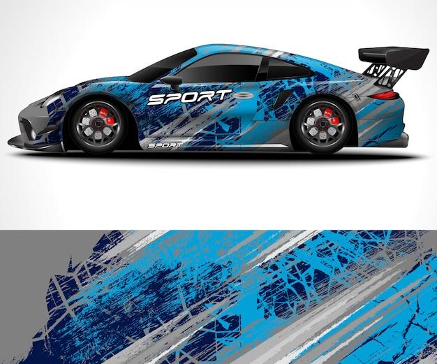 Streszczenie tło dla wyścigów sport car wrap projekt i barwa pojazdu
