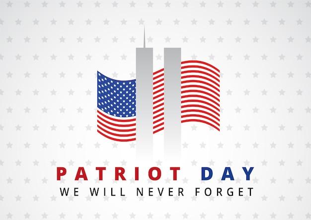 Streszczenie tło dzień patrioty z bliźniaczymi wieżami i flagą