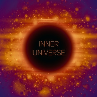 Streszczenie tło dziwnej czarnej dziury w przestrzeni. świecące gwiazdy spadające w ciemność.