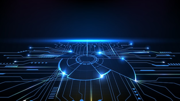 Streszczenie tło futurystyczne chipy głównego procesora rdzenia z linii obwodu