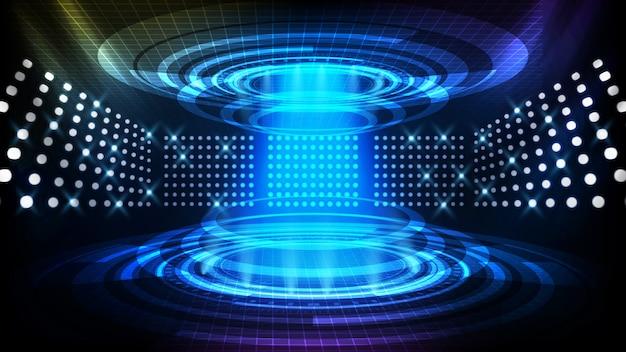 Streszczenie tło futurystycznej rury teleportacyjnej, wyświetlacz interfejsu hud