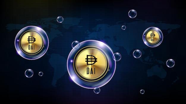 Streszczenie tło futurystycznej technologii bańki świecącej kryptowaluty dai stabilnej monety