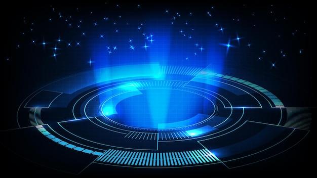 Streszczenie tło futurystyczny panel wyświetlacza walki hud gui walki ze światłem