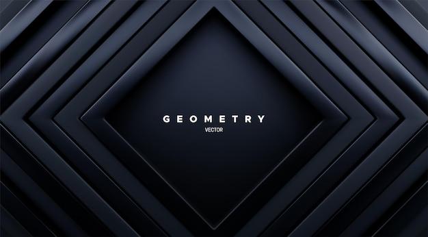 Streszczenie tło geometryczne z koncentrycznymi czarnymi kwadratowymi ramkami