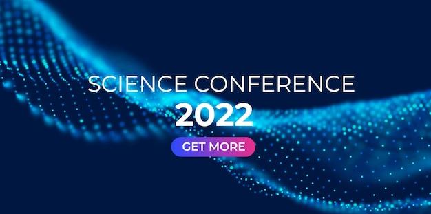 Streszczenie tło konferencji naukowej z niebieskimi cząsteczkami fali ilustracja wektorowa technologii