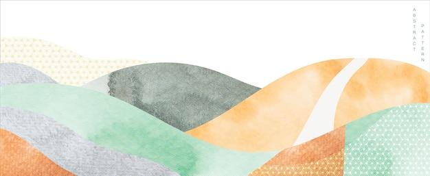 Streszczenie tło krajobraz. japońska fala z akwarelą tekstury w orientalnym szablonie. projekt układu górskiego.