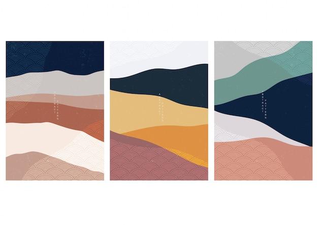 Streszczenie tło krajobraz z japońskim wzorem fal. szablon lasu górskiego. chińska grafika w koncepcji przygodowej.