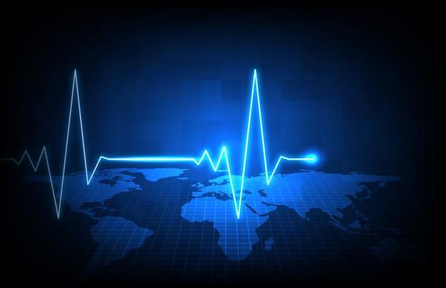 Streszczenie tło mapy świata futurystyczny technologii niebieski i cyfrowy monitor fali fali puls puls ekg