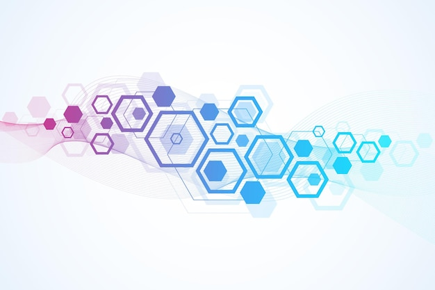 Streszczenie tło medyczne badania dna, cząsteczka, genetyka, genom, łańcuch dna. koncepcja sztuki analizy genetycznej z sześciokątami, falami, liniami, kropkami. cząsteczka koncepcji sieci biotechnologicznej, wektor