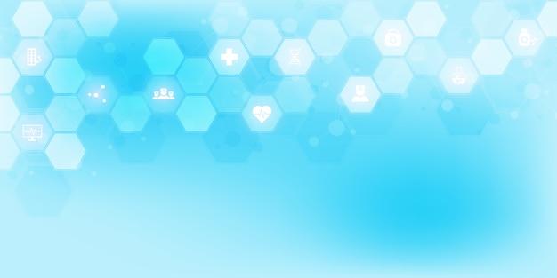 Streszczenie tło medyczne z ikonami i symbolami. szablon z koncepcją i pomysłem dla technologii opieki zdrowotnej, medycyny innowacji, zdrowia, nauki i badań.