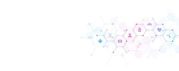 Streszczenie tło medyczne z ikonami i symbolami.