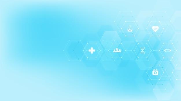 Streszczenie tło medyczne z płaskich ikon i symboli. projekt szablonu z koncepcją i pomysłem na technologię opieki zdrowotnej, innowacyjną medycynę, zdrowie, naukę i badania.