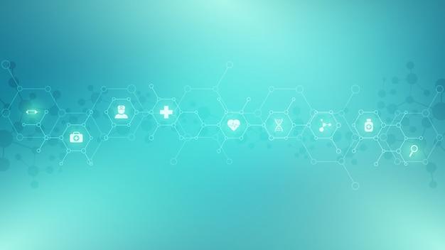 Streszczenie tło medyczne z płaskich ikon i symboli