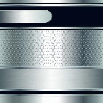 Streszczenie tło, metalowe srebrne banery. ilustracja