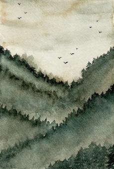 Streszczenie tło mglisty las