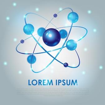 Streszczenie tło nauki z niebieską cząsteczką na jasnym tle, ilustracji wektorowych