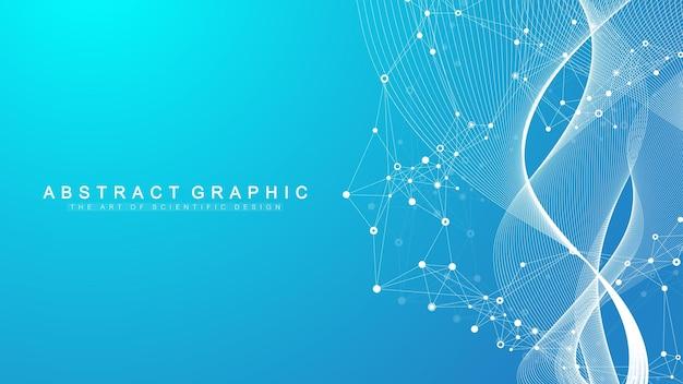 Streszczenie tło naukowe z dynamicznymi cząsteczkami, przepływ fal. tło strumienia splotu. wizualizacja danych 3d z elementami fraktalnymi. cyberpunkowy styl. cyfrowa ilustracja wektorowa