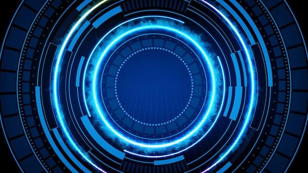 Streszczenie tło niebieski futurystyczny interfejs wyświetlacza hud technologii i dymu