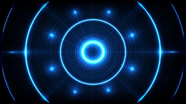 Streszczenie tło niebieski futurystyczny technologii okrągły otwór hud interfejs wyświetlacza
