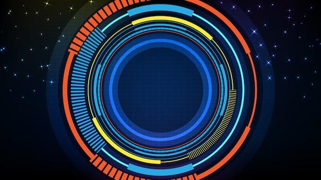 Streszczenie tło niebieski interfejs wyświetlacza hud futurystycznej technologii